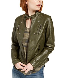 Juniors' Faux-Leather Jacket, Created for Macy's
