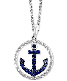 """EFFY® Sapphire Anchor 18"""" Pendant Necklace (1/2 ct. t.w.) in Sterling Silver"""