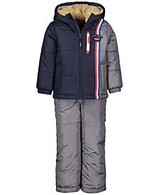 Toddler Boys Colorblocked Hooded Jacket & Snowbib Snowsuit