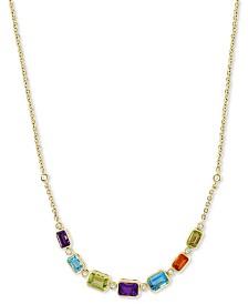 "EFFY® Multi-Gemstone (2-9/10 ct. t.w.) & Diamond (1/8 ct. t.w.) 18"" Pendant Necklace in 14k Gold"