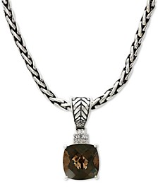 "EFFY® Smoky Quartz (4-1/2 ct. t.w.) & Diamond Accent 18"" Pendant Necklace in Sterling Silver"