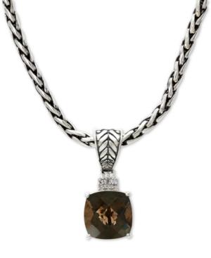 "Effy Smoky Quartz (4-1/2 ct. t.w.) & Diamond Accent 18"" Pendant Necklace in Sterling Silver"