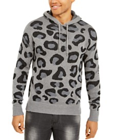 I.N.C. Men's Leopard Sweater Hoodie, Created For Macy's