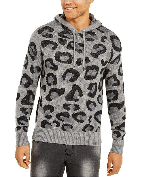 INC International Concepts INC Men's Leopard Sweater Hoodie, Created For Macy's