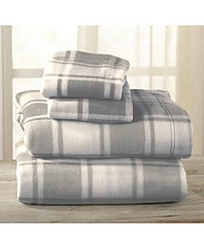 Great Bay Home Fleece Plaid Printed Full Sheet Set
