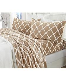 Great Bay Home Extra Soft Cozy Velvet Plush Printed King Sheet Set