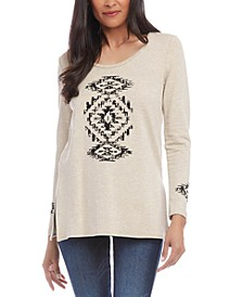 Graphic Vented-Hem Sweater