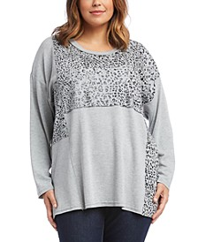 Karen Scott Plus Size Contrast-Panel Sweater