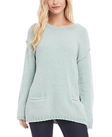 Drop-Shoulder Chenille Sweater