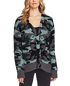 Textured Camo Cardigan Sweater