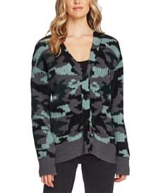 Vince Camuto Textured Camo Cardigan Sweater