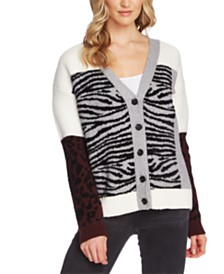 Vince Camuto Mixed Zebra-Print Colorblocked Cardigan Sweater