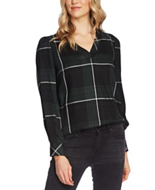 Vince Camuto Midnight Windowpane Puff-Shoulder Top