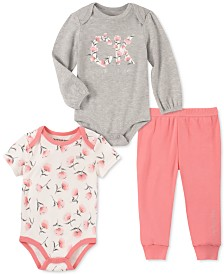 Calvin Klein Baby Girls 3-Pc. Floral Bodysuits & Jogger Pants Set