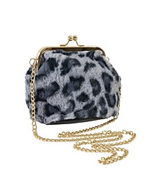 Faux Fur Bag with Kiss Lock Closure and Chain Crossbody Strap