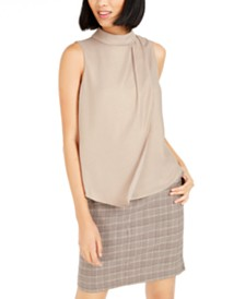 Bar III Mock Neck Pleated Tank Top, Created For Macy's