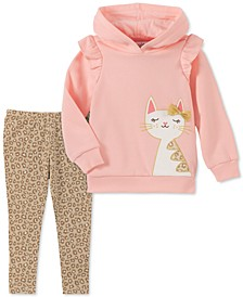 Baby Girls 2-Pc. Cat Hoodie & Animal-Print Leggings Set