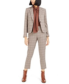 Plaid Notch-Collar Jacket, Straight-Leg Pants & Bow Blouse, Created For Macy's