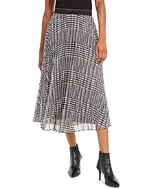 Shaila Metallic Plaid Pleated Skirt