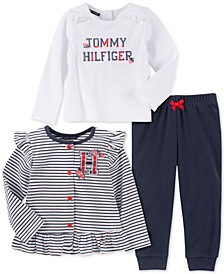 Baby Girls 3-Pc. Striped Cardigan, Logo-Print T-Shirt & Leggings Set