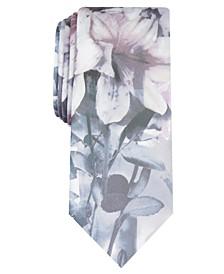 INC Men's Skinny Floral Skull Tie, Created For Macy's