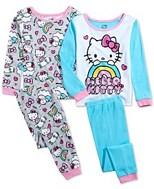 AME Toddler Girls 4-Pc. Cotton Hello Kitty Pajama Set