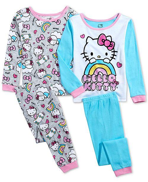AME Toddler Girls 4-Pc. Cotton Hello Kitty Pajama Set