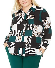 Trendy Plus Size Printed Button-Up Blouse, Created For Macy's