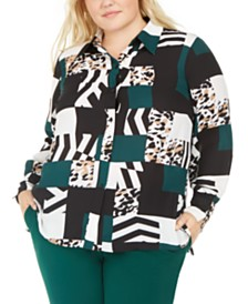 Bar III Plus Size Printed Button-Up Blouse, Created For Macy's