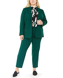 Plus Size Stretch Blazer, Pants & Printed Blouse, Created For Macy's