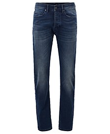BOSS Men's Taber BC-P Tapered-Fit Dark-Blue Stretch Denim Jeans