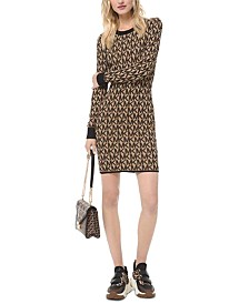Michael Michael Kors Logo-Print Bodycon Dress