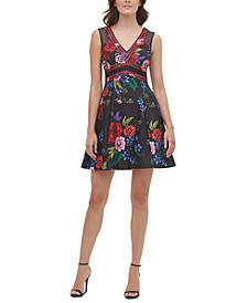 Printed Scuba Fit & Flare Dress