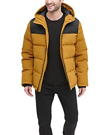Men's Mixed-Media Puffer Coat, Created for Macy's