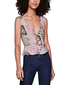 Printed Knot-Front Peplum Tank