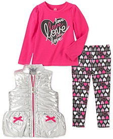 Little Girls 3-Pc. Metallic Vest, Love Top & Printed Leggings Set