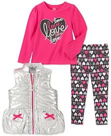 Kids Headquarters Toddler Girls 3-Pc. Metallic Vest, Love Top & Printed Leggings Set