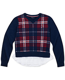 Tommy Hilfiger Big Girls Cotton Plaid Peplum Sweater