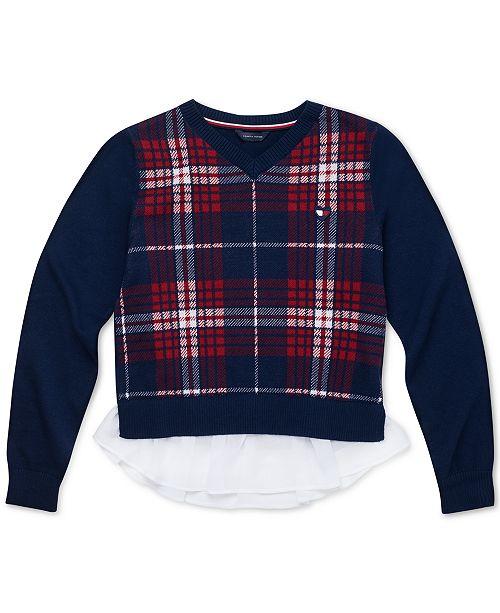Tommy Hilfiger Big Girls Cotton Plaid Peplum Sweater