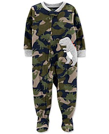 Baby Boys 1-Pc. Camo-Print Dinosaur Fleece Footed Pajamas