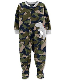 Carter's Baby Boys 1-Pc. Camo-Print Dinosaur Fleece Footed Pajamas