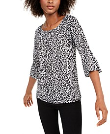 Animal-Print Bell-Sleeve Top, Regular & Petite Sizes