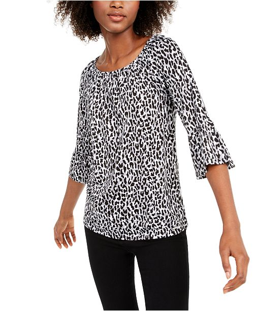 Michael Kors Animal-Print Bell-Sleeve Top, Regular & Petite Sizes