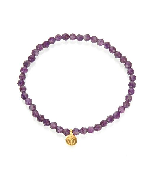 Satya Jewelry Amethyst Gold Mini Lotus Stretch Bracelet