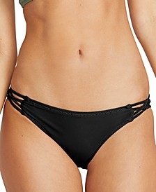 Juniors' Simply Solid Strappy-Side Bikini Bottoms