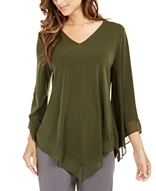 Chiffon-Trim V-Hem Top, Created for Macy's