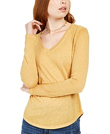 Juniors' Long-Sleeved Textured Boyfriend T-Shirt