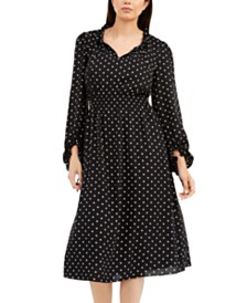 Anne Klein Smocked-Waist Dot-Print Dress