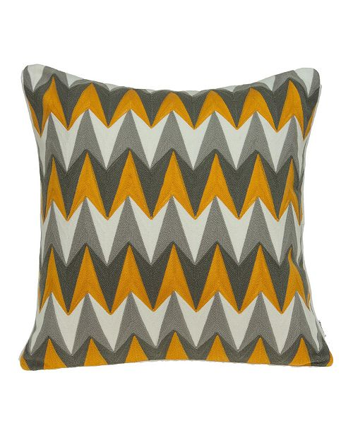 Parkland Collection Toki Transitional Grey and Orange Pillow Cover with Polyester Insert