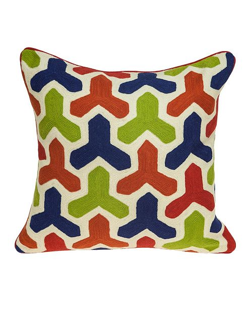 Parkland Collection Handmade Canis Transitional Multicolored Pillow Cover With Down Insert